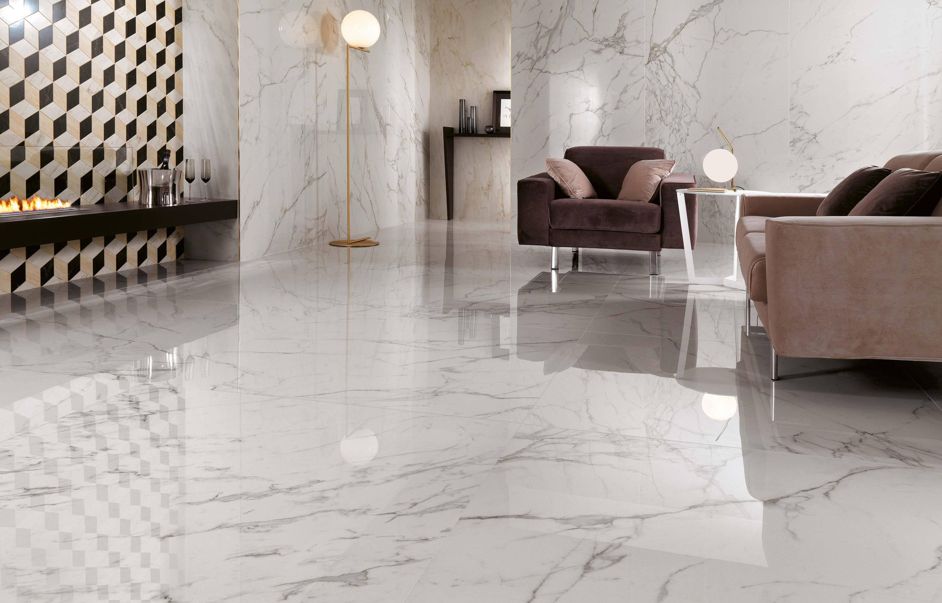 Shop Amp Buy Calacatta Oro Glazed Polished Porcelain 600x600